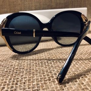 Chloe Accessories - Chloe Oversize Round Navy Cat Eye Sunglasses
